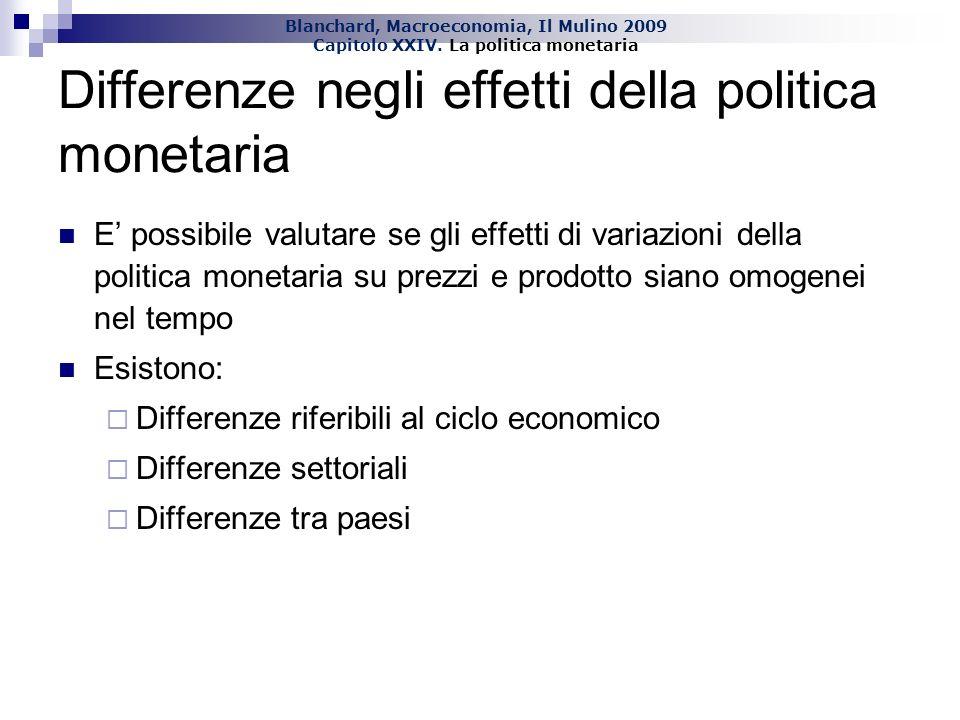 Blanchard, Macroeconomia, Il Mulino 2009 Capitolo XXIV. La politica monetaria Differenze negli effetti della politica monetaria E possibile valutare s