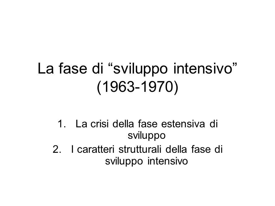 La fase di sviluppo intensivo (1963-1970) 1.La crisi della fase estensiva di sviluppo 2.I caratteri strutturali della fase di sviluppo intensivo