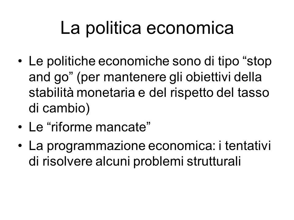 La politica economica Le politiche economiche sono di tipo stop and go (per mantenere gli obiettivi della stabilità monetaria e del rispetto del tasso di cambio) Le riforme mancate La programmazione economica: i tentativi di risolvere alcuni problemi strutturali