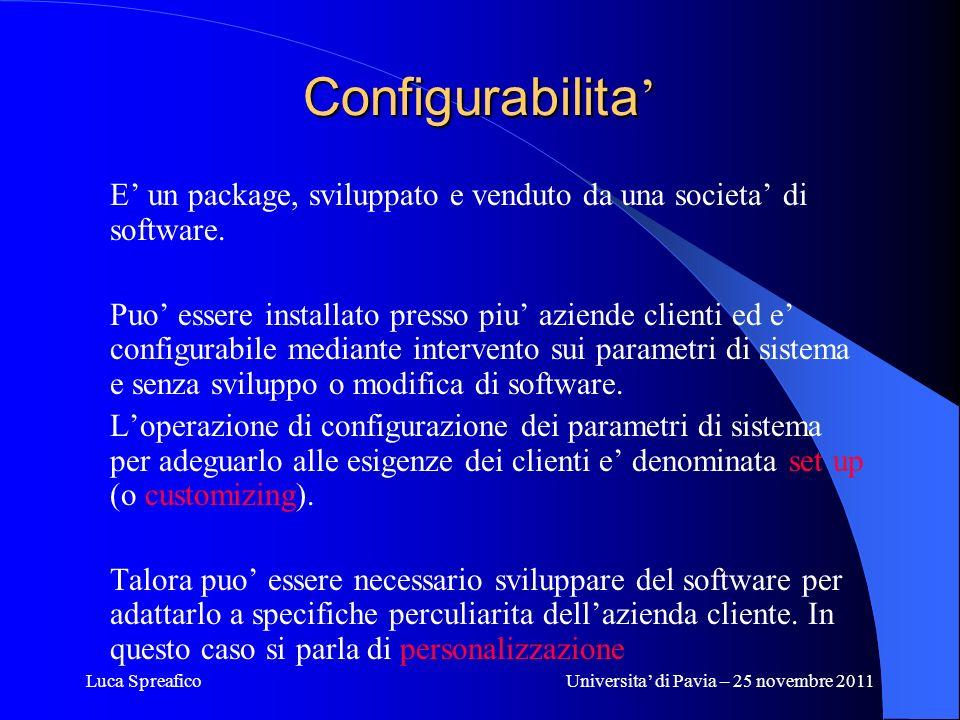 Luca SpreaficoUniversita di Pavia – 25 novembre 2011 Configurabilita Configurabilita E un package, sviluppato e venduto da una societa di software. Pu