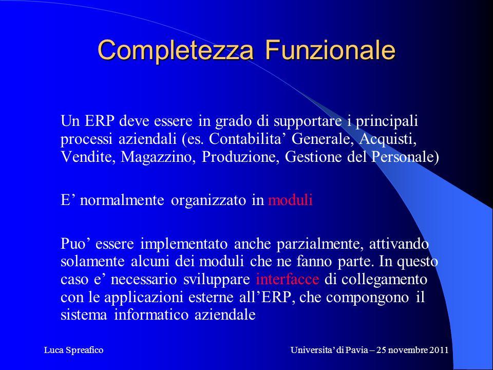 Luca SpreaficoUniversita di Pavia – 25 novembre 2011 Completezza Funzionale Un ERP deve essere in grado di supportare i principali processi aziendali