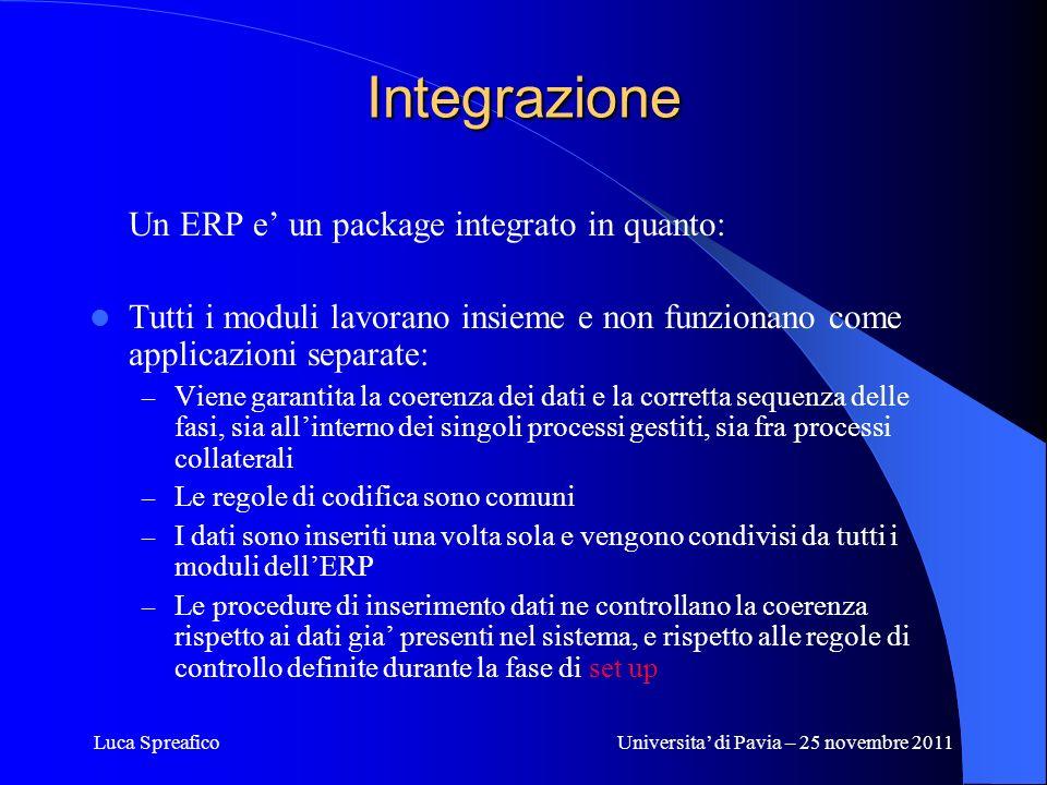 Luca SpreaficoUniversita di Pavia – 25 novembre 2011 Integrazione Un ERP e un package integrato in quanto: Tutti i moduli lavorano insieme e non funzi