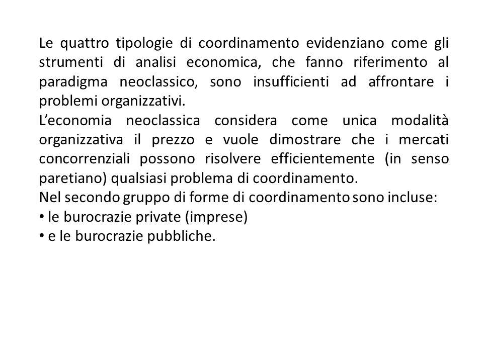 Le quattro tipologie di coordinamento evidenziano come gli strumenti di analisi economica, che fanno riferimento al paradigma neoclassico, sono insuff