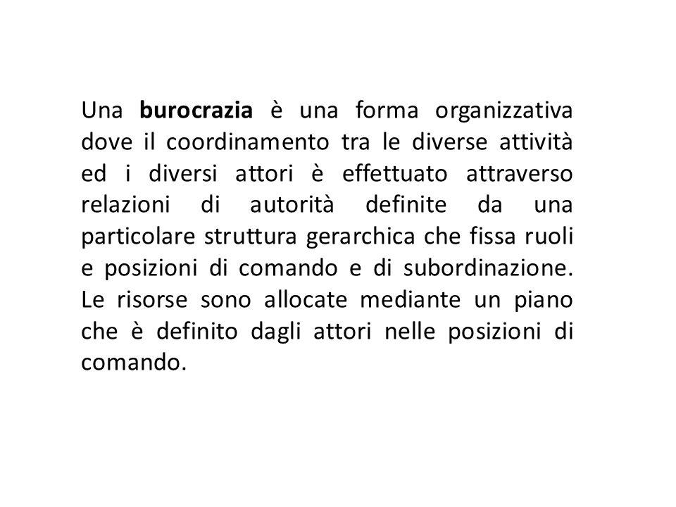 Una burocrazia è una forma organizzativa dove il coordinamento tra le diverse attività ed i diversi attori è effettuato attraverso relazioni di autori
