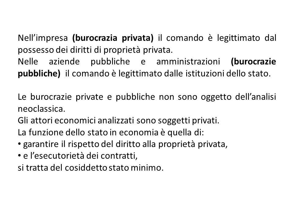 Nellimpresa (burocrazia privata) il comando è legittimato dal possesso dei diritti di proprietà privata. Nelle aziende pubbliche e amministrazioni (bu