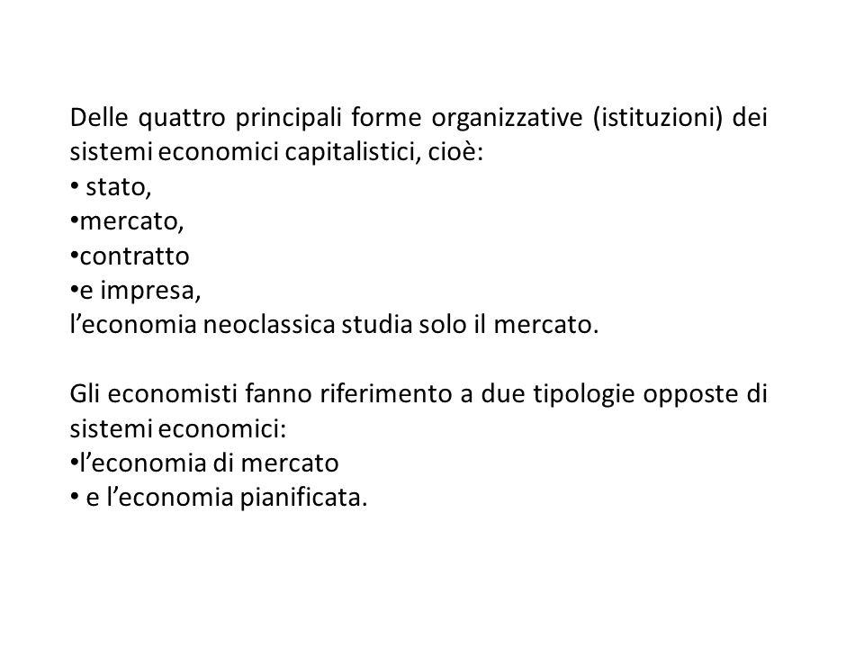 Delle quattro principali forme organizzative (istituzioni) dei sistemi economici capitalistici, cioè: stato, mercato, contratto e impresa, leconomia n