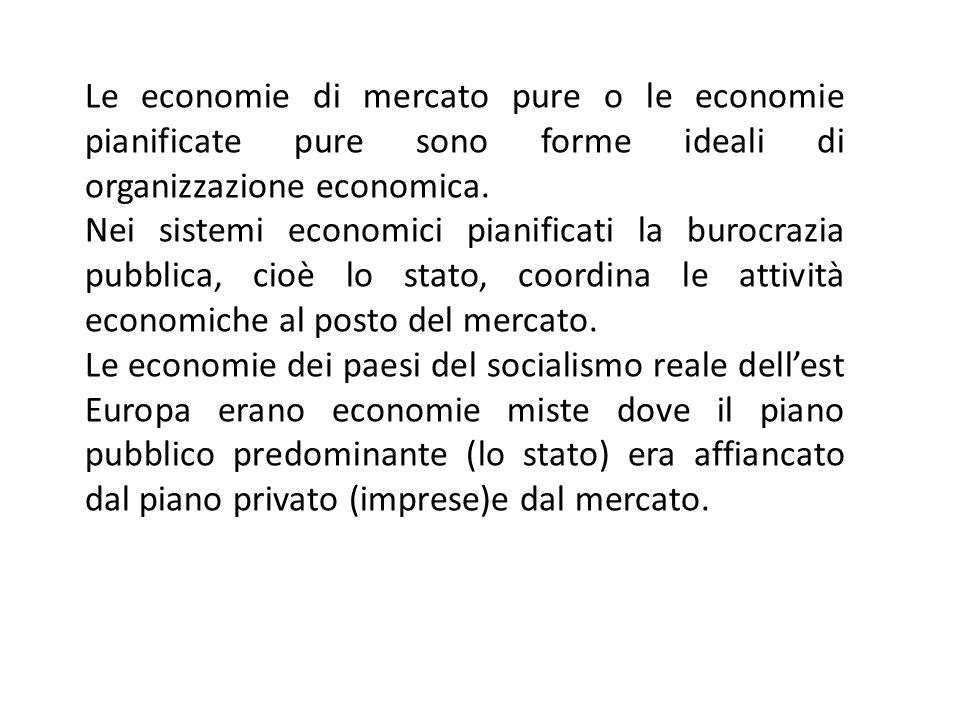 Le economie di mercato pure o le economie pianificate pure sono forme ideali di organizzazione economica. Nei sistemi economici pianificati la burocra