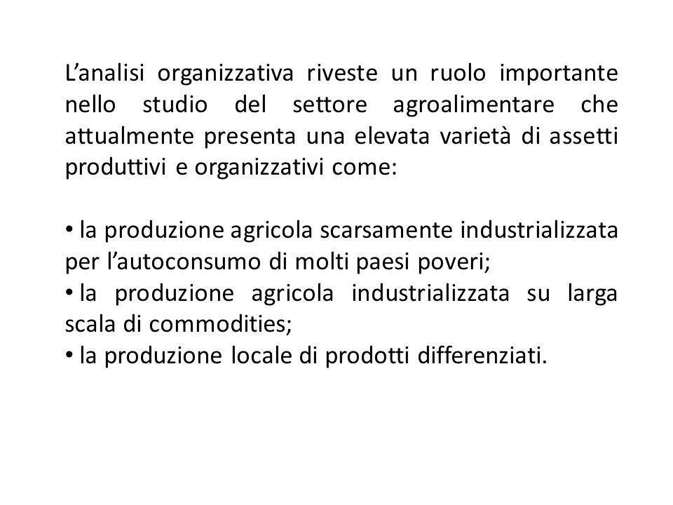 Lanalisi organizzativa riveste un ruolo importante nello studio del settore agroalimentare che attualmente presenta una elevata varietà di assetti pro