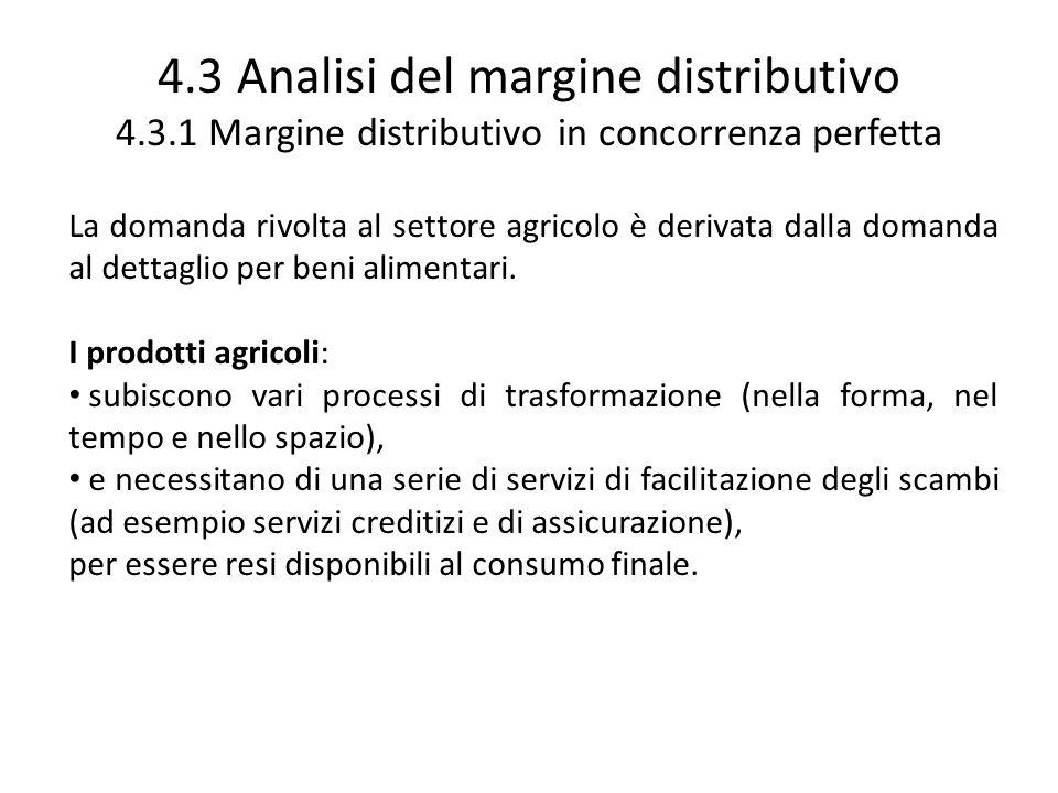 4.3 Analisi del margine distributivo 4.3.1 Margine distributivo in concorrenza perfetta La domanda rivolta al settore agricolo è derivata dalla domand