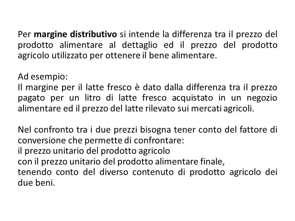 Per margine distributivo si intende la differenza tra il prezzo del prodotto alimentare al dettaglio ed il prezzo del prodotto agricolo utilizzato per