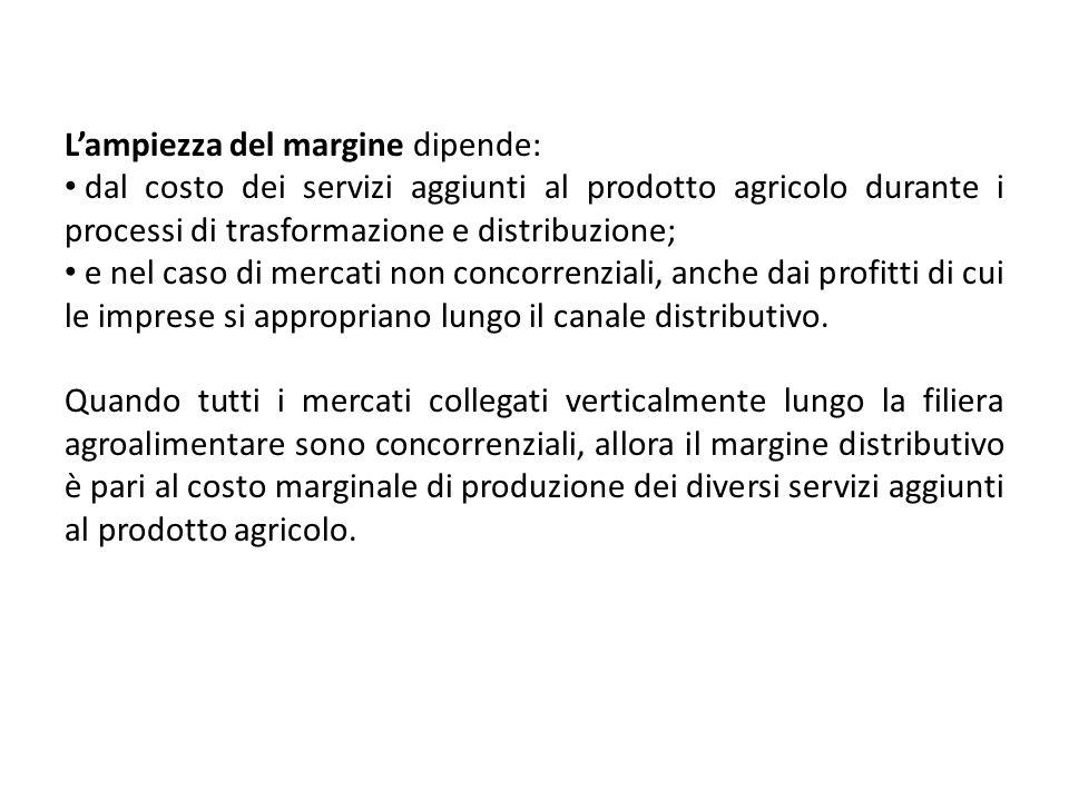 Lampiezza del margine dipende: dal costo dei servizi aggiunti al prodotto agricolo durante i processi di trasformazione e distribuzione; e nel caso di