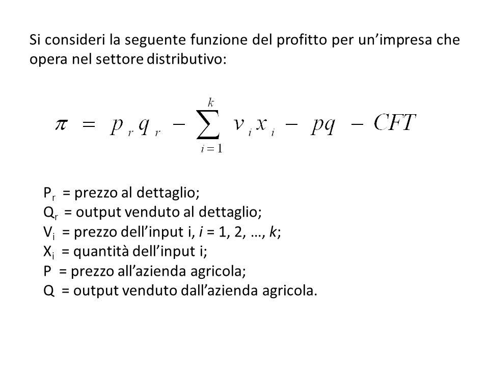 Si consideri la seguente funzione del profitto per unimpresa che opera nel settore distributivo: P r = prezzo al dettaglio; Q r = output venduto al de