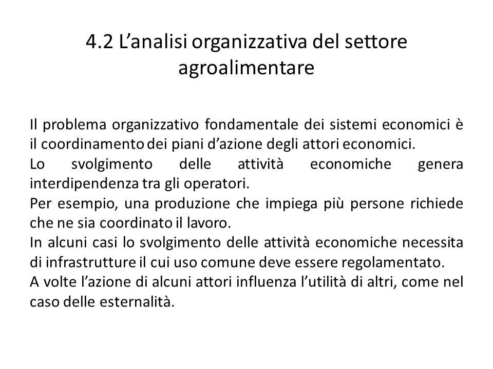 4.2 Lanalisi organizzativa del settore agroalimentare Il problema organizzativo fondamentale dei sistemi economici è il coordinamento dei piani dazion