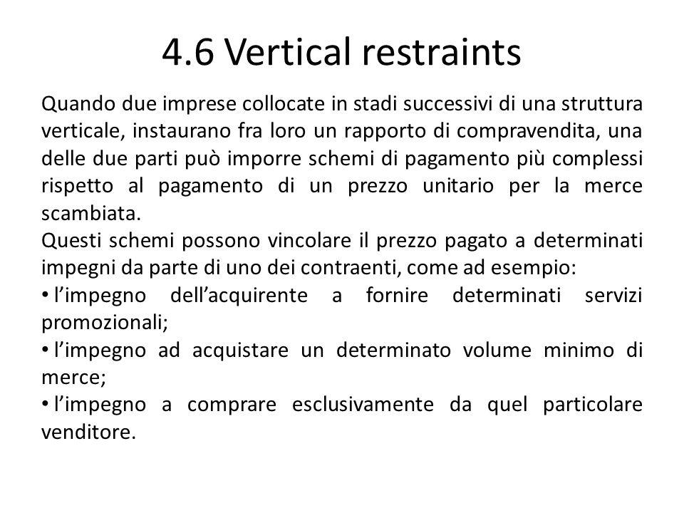 4.6 Vertical restraints Quando due imprese collocate in stadi successivi di una struttura verticale, instaurano fra loro un rapporto di compravendita,