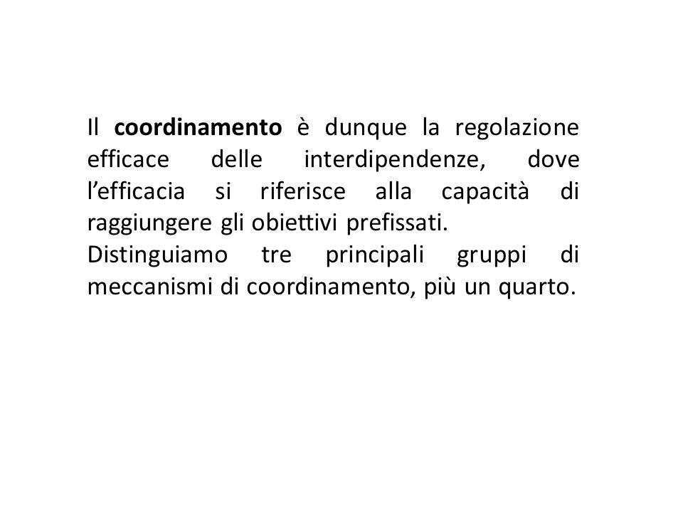 Il coordinamento è dunque la regolazione efficace delle interdipendenze, dove lefficacia si riferisce alla capacità di raggiungere gli obiettivi prefi