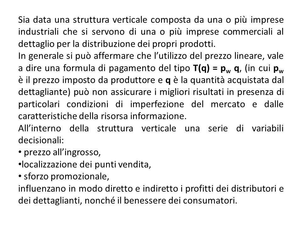 Sia data una struttura verticale composta da una o più imprese industriali che si servono di una o più imprese commerciali al dettaglio per la distrib