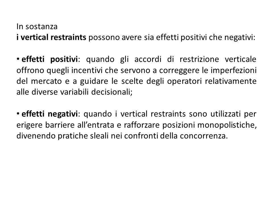 In sostanza i vertical restraints possono avere sia effetti positivi che negativi: effetti positivi: quando gli accordi di restrizione verticale offro