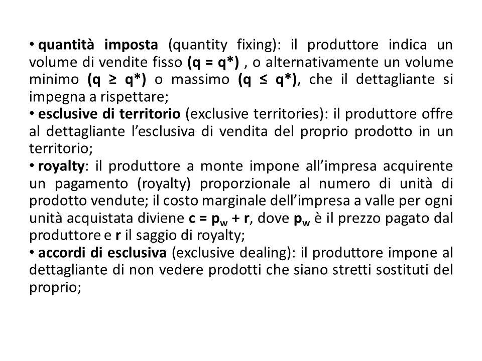 quantità imposta (quantity fixing): il produttore indica un volume di vendite fisso (q = q*), o alternativamente un volume minimo (q q*) o massimo (q