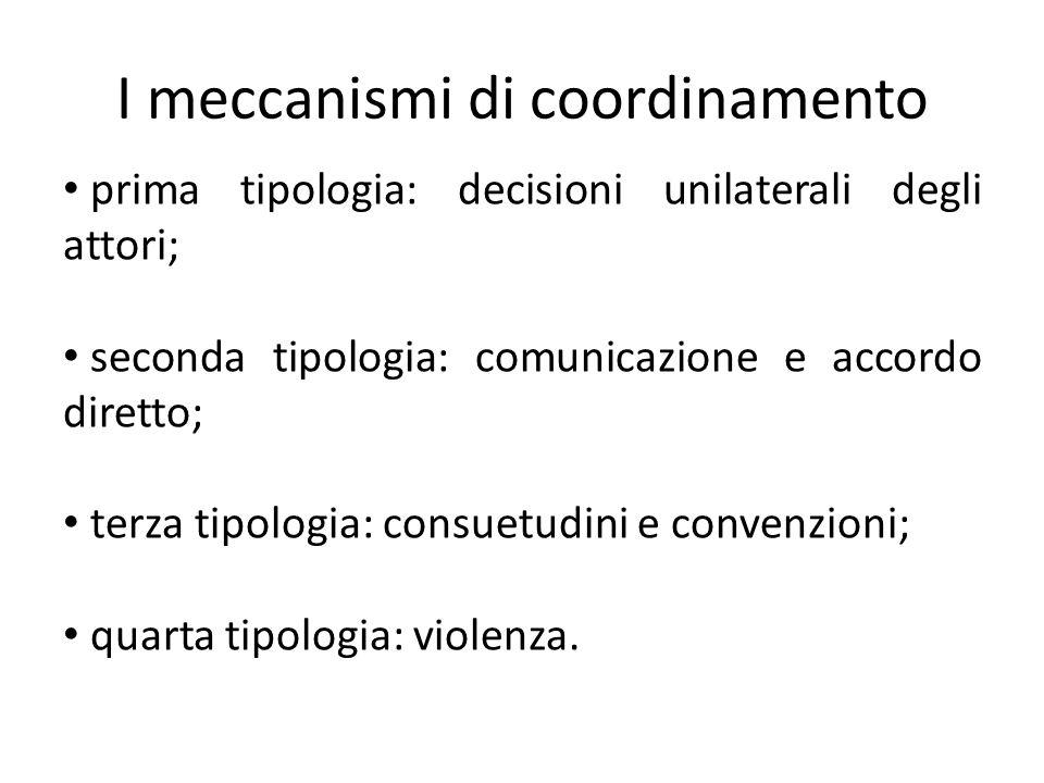 I meccanismi di coordinamento prima tipologia: decisioni unilaterali degli attori; seconda tipologia: comunicazione e accordo diretto; terza tipologia