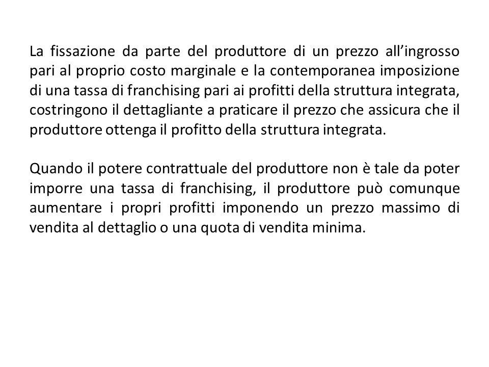 La fissazione da parte del produttore di un prezzo allingrosso pari al proprio costo marginale e la contemporanea imposizione di una tassa di franchis
