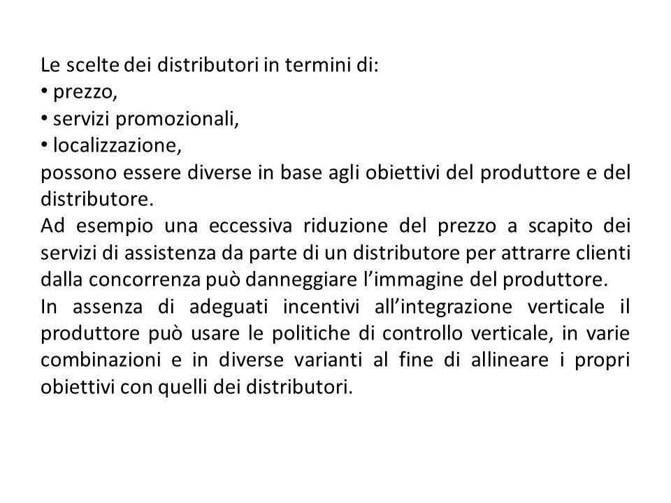 Le scelte dei distributori in termini di: prezzo, servizi promozionali, localizzazione, possono essere diverse in base agli obiettivi del produttore e