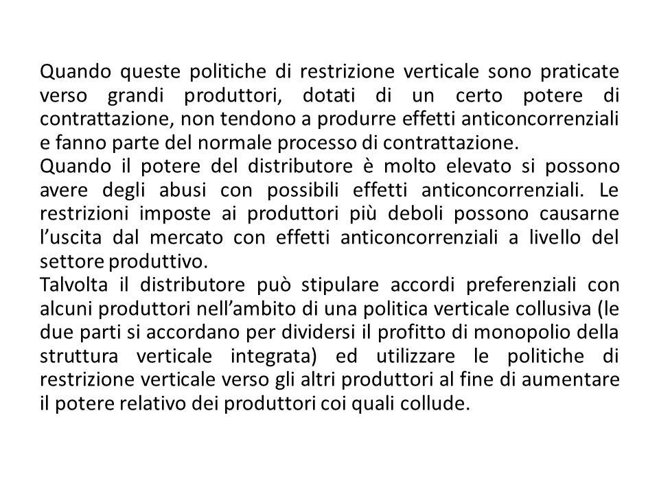 Quando queste politiche di restrizione verticale sono praticate verso grandi produttori, dotati di un certo potere di contrattazione, non tendono a pr