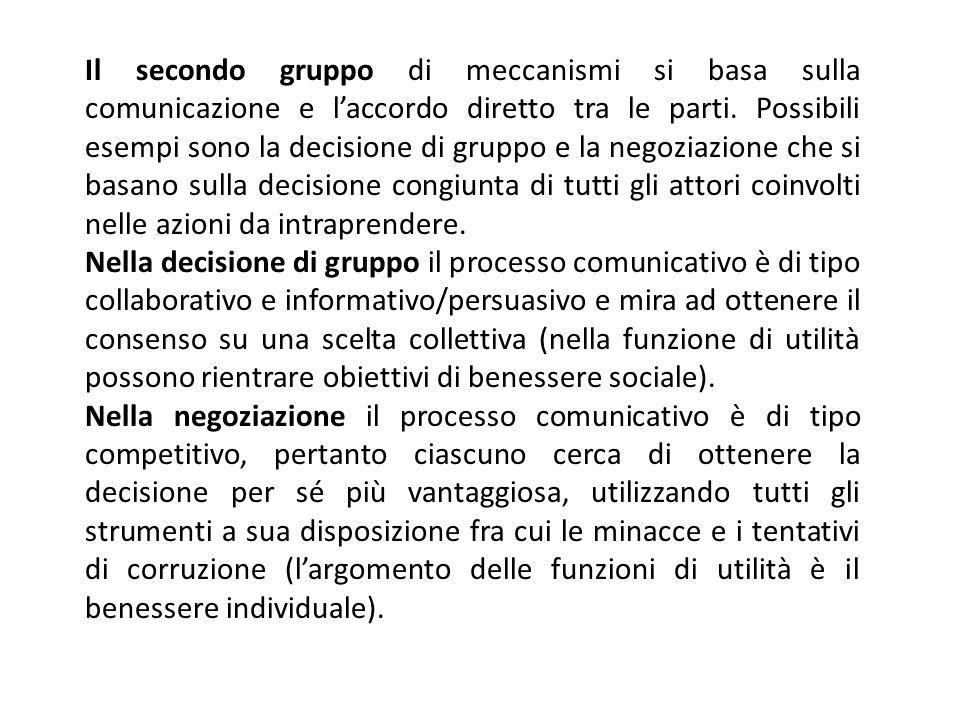 Il secondo gruppo di meccanismi si basa sulla comunicazione e laccordo diretto tra le parti. Possibili esempi sono la decisione di gruppo e la negozia