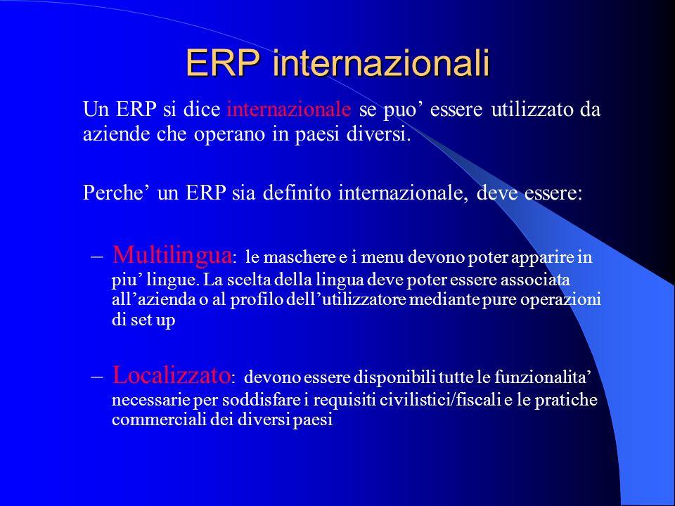 ERP internazionali Un ERP si dice internazionale se puo essere utilizzato da aziende che operano in paesi diversi. Perche un ERP sia definito internaz