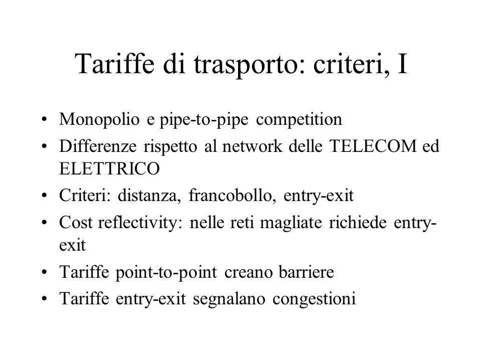 Tariffe di trasporto: criteri, I Monopolio e pipe-to-pipe competition Differenze rispetto al network delle TELECOM ed ELETTRICO Criteri: distanza, fra