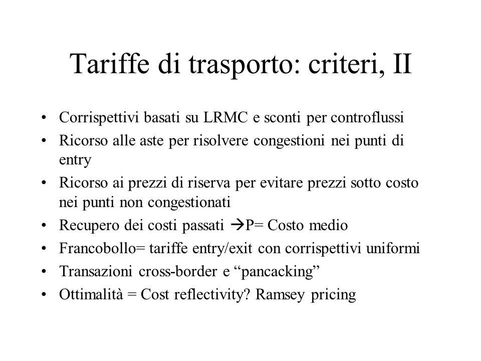 Tariffe di trasporto: criteri, II Corrispettivi basati su LRMC e sconti per controflussi Ricorso alle aste per risolvere congestioni nei punti di entr