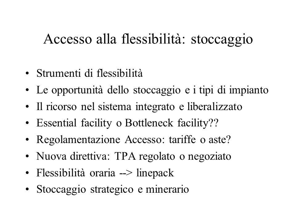 Accesso alla flessibilità: stoccaggio Strumenti di flessibilità Le opportunità dello stoccaggio e i tipi di impianto Il ricorso nel sistema integrato