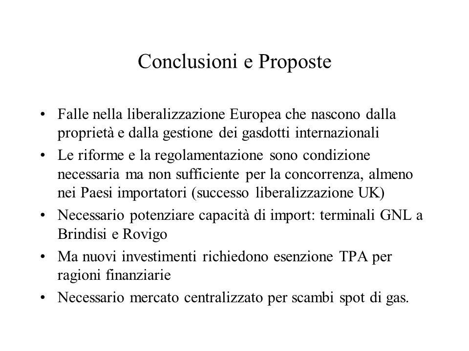 Conclusioni e Proposte Falle nella liberalizzazione Europea che nascono dalla proprietà e dalla gestione dei gasdotti internazionali Le riforme e la r