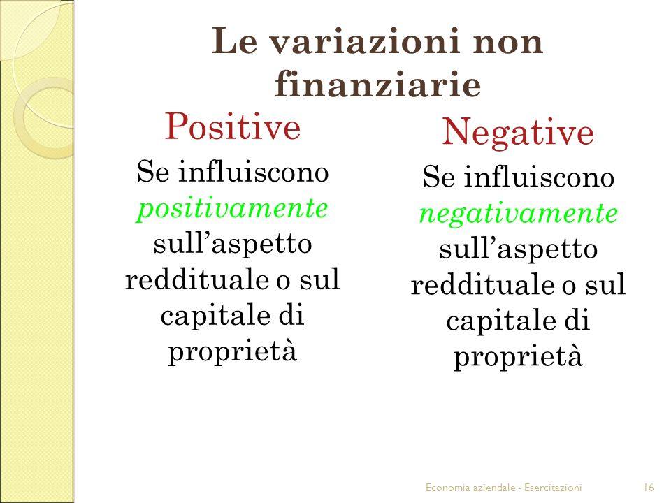 Economia aziendale - Esercitazioni16 Le variazioni non finanziarie Positive Se influiscono positivamente sullaspetto reddituale o sul capitale di proprietà Negative Se influiscono negativamente sullaspetto reddituale o sul capitale di proprietà