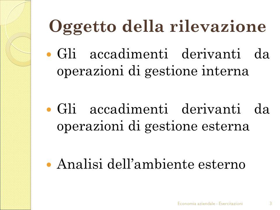 Economia aziendale - Esercitazioni3 Oggetto della rilevazione Gli accadimenti derivanti da operazioni di gestione interna Gli accadimenti derivanti da operazioni di gestione esterna Analisi dellambiente esterno