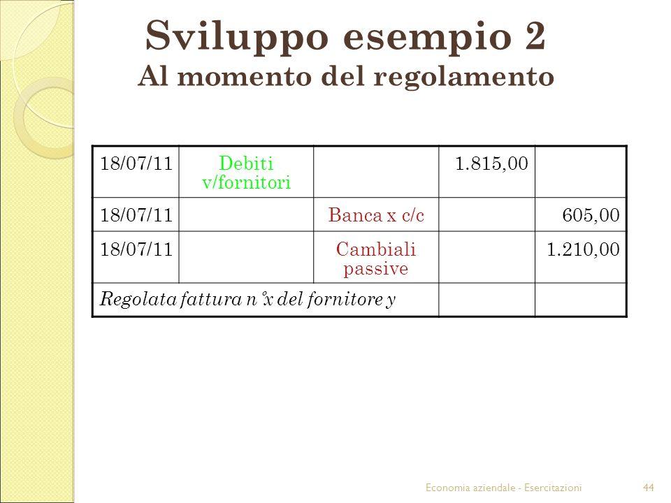 Economia aziendale - Esercitazioni44 Sviluppo esempio 2 Al momento del regolamento 18/07/11Debiti v/fornitori 1.815,00 18/07/11Banca x c/c605,00 18/07/11Cambiali passive 1.210,00 Regolata fattura n°x del fornitore y