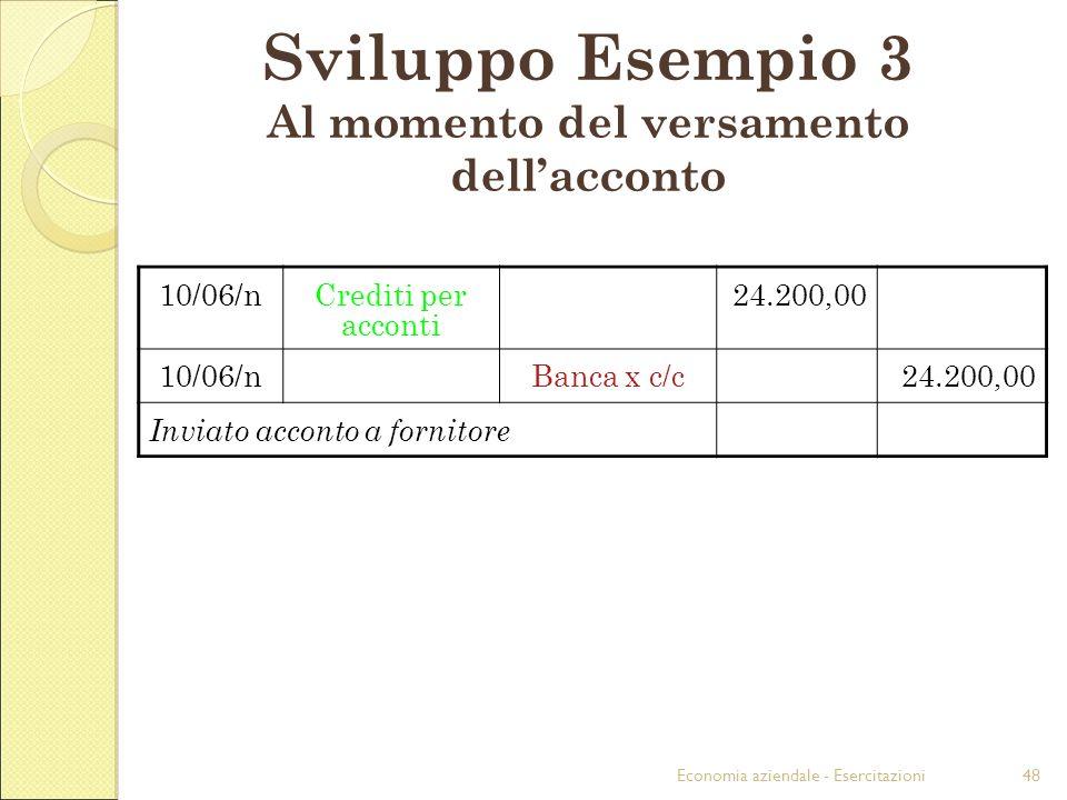 Economia aziendale - Esercitazioni48 Sviluppo Esempio 3 Al momento del versamento dellacconto 10/06/nCrediti per acconti 24.200,00 10/06/nBanca x c/c24.200,00 Inviato acconto a fornitore