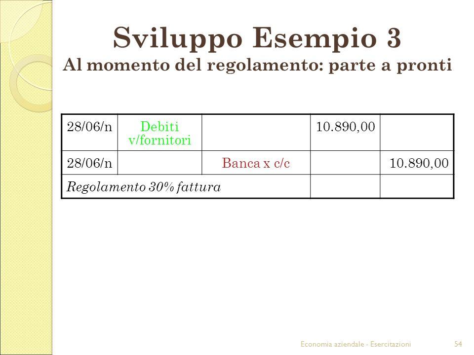 Economia aziendale - Esercitazioni54 28/06/nDebiti v/fornitori 10.890,00 28/06/nBanca x c/c10.890,00 Regolamento 30% fattura Sviluppo Esempio 3 Al momento del regolamento: parte a pronti