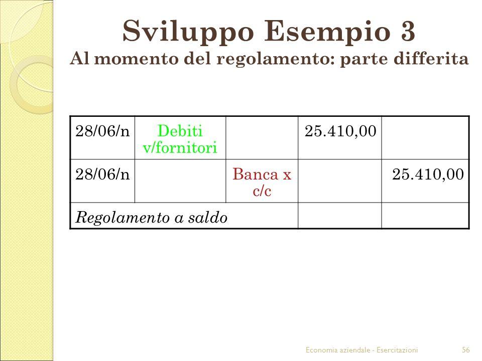 Economia aziendale - Esercitazioni56 Sviluppo Esempio 3 Al momento del regolamento: parte differita 28/06/nDebiti v/fornitori 25.410,00 28/06/nBanca x c/c 25.410,00 Regolamento a saldo