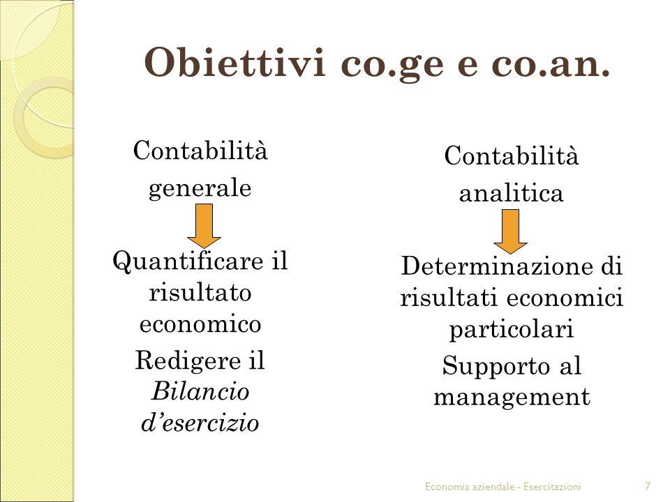 Economia aziendale - Esercitazioni7 Obiettivi co.ge e co.an.