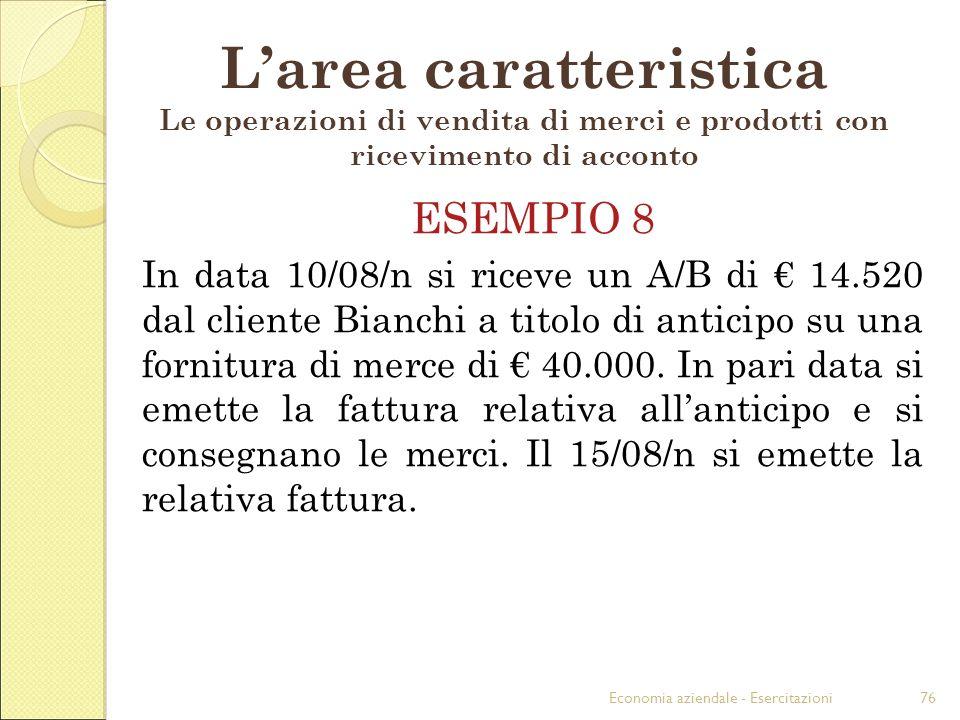 Economia aziendale - Esercitazioni76 Larea caratteristica Le operazioni di vendita di merci e prodotti con ricevimento di acconto ESEMPIO 8 In data 10/08/n si riceve un A/B di 14.520 dal cliente Bianchi a titolo di anticipo su una fornitura di merce di 40.000.