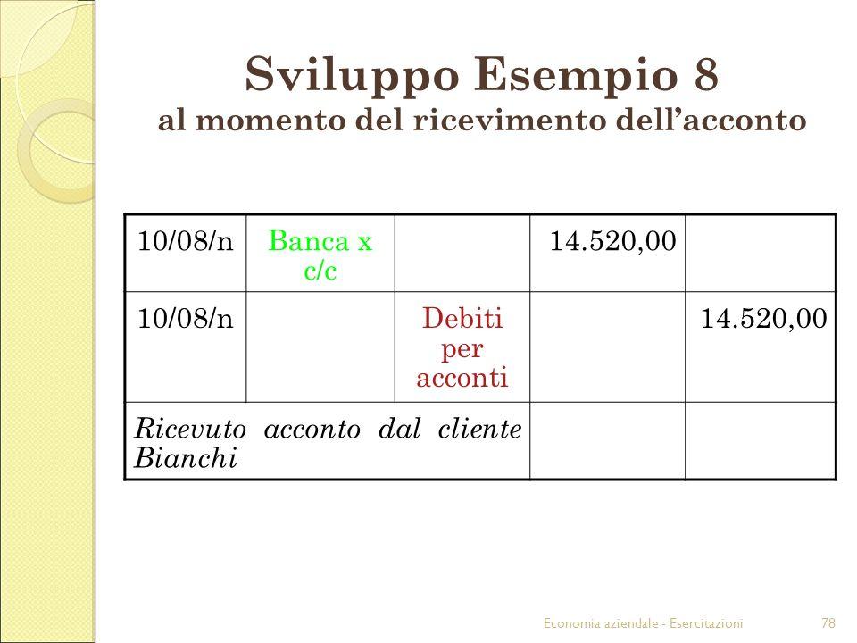 Economia aziendale - Esercitazioni78 Sviluppo Esempio 8 al momento del ricevimento dellacconto 10/08/nBanca x c/c 14.520,00 10/08/nDebiti per acconti 14.520,00 Ricevuto acconto dal cliente Bianchi