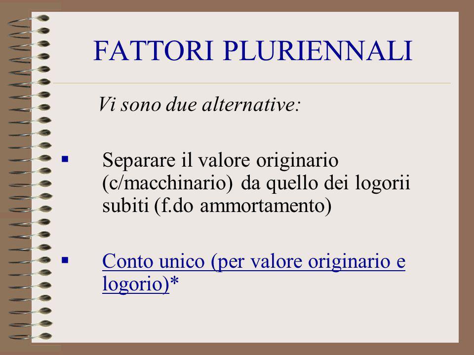 FATTORI PLURIENNALI Vi sono due alternative: Separare il valore originario (c/macchinario) da quello dei logorii subiti (f.do ammortamento) Conto unic