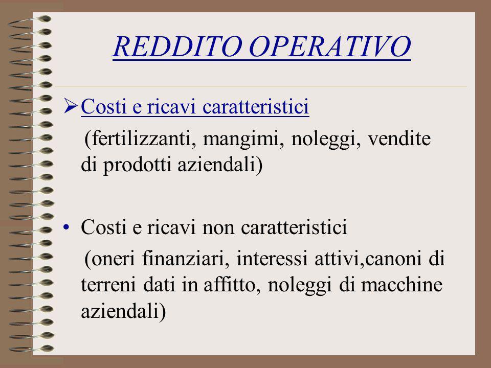 REDDITO OPERATIVO Costi e ricavi caratteristici (fertilizzanti, mangimi, noleggi, vendite di prodotti aziendali) Costi e ricavi non caratteristici (on