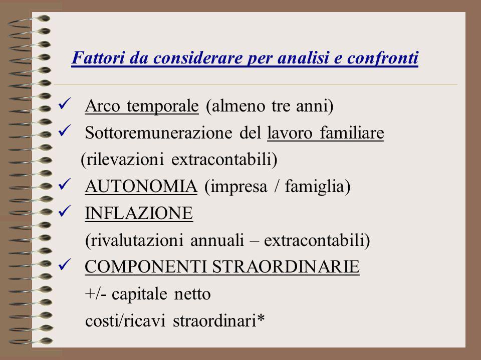 Fattori da considerare per analisi e confronti Arco temporale (almeno tre anni) Sottoremunerazione del lavoro familiare (rilevazioni extracontabili) A