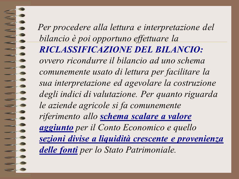 Per procedere alla lettura e interpretazione del bilancio è poi opportuno effettuare la RICLASSIFICAZIONE DEL BILANCIO: ovvero ricondurre il bilancio