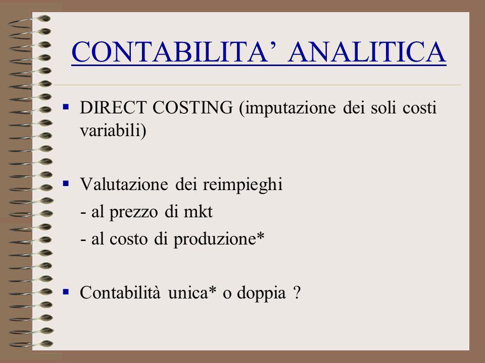 CONTABILITA ANALITICA DIRECT COSTING (imputazione dei soli costi variabili) Valutazione dei reimpieghi - al prezzo di mkt - al costo di produzione* Co