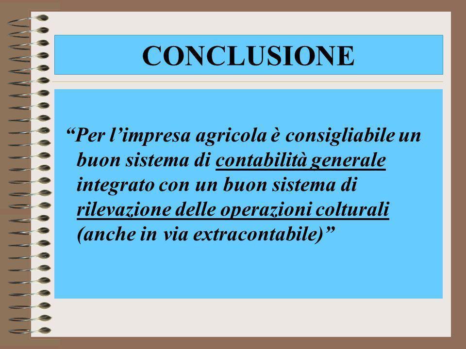CONCLUSIONE Per limpresa agricola è consigliabile un buon sistema di contabilità generale integrato con un buon sistema di rilevazione delle operazion