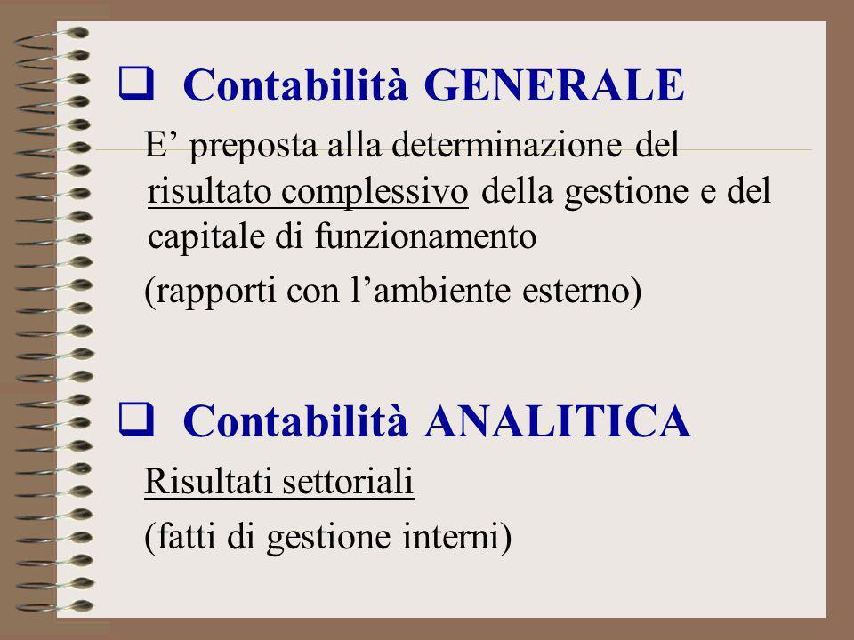Contabilità GENERALE E preposta alla determinazione del risultato complessivo della gestione e del capitale di funzionamento (rapporti con lambiente e
