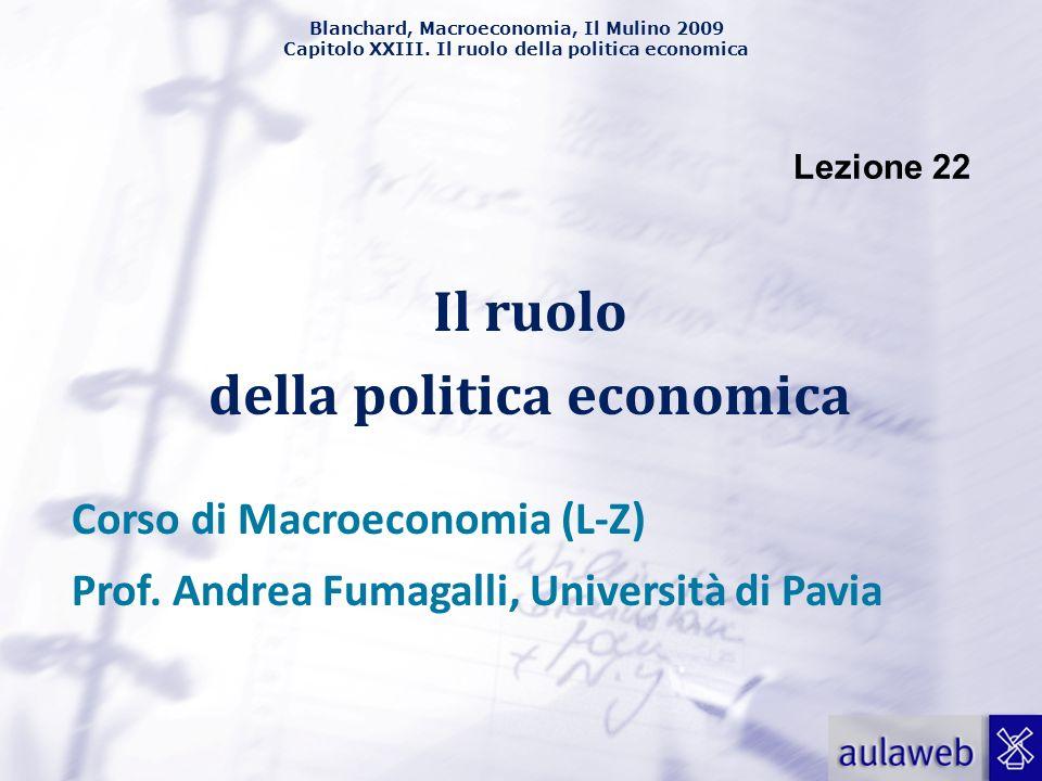 Blanchard, Macroeconomia, Il Mulino 2009 Capitolo XXIII. Il ruolo della politica economica Lezione 22 Il ruolo della politica economica Corso di Macro