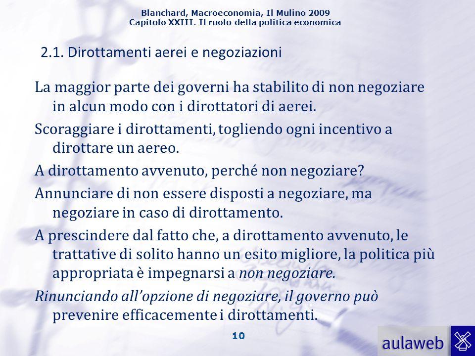 Blanchard, Macroeconomia, Il Mulino 2009 Capitolo XXIII. Il ruolo della politica economica 10 La maggior parte dei governi ha stabilito di non negozia